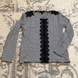 J.Crew lace and stripe shirt